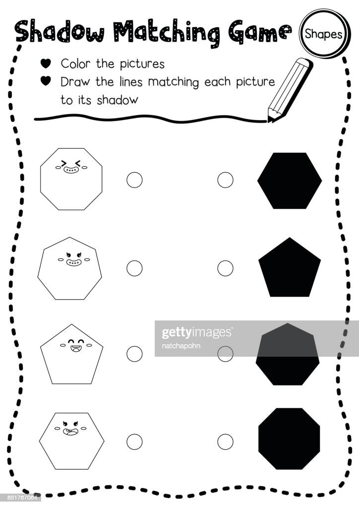 Shadow matching game shape 2 coloring page version
