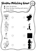 Shadow matching game valentine cupid coloring page version