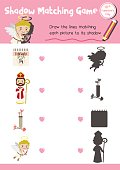Shadow matching game valentine cupid