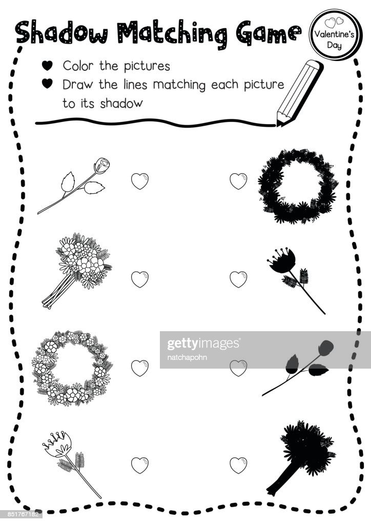 Shadow matching game valentine flower coloring page version