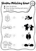 Shadow matching game valentine lover coloring page version