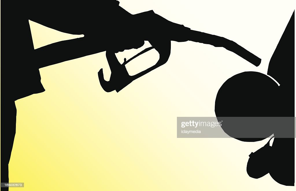 Shadow of a person about to put gas nozzle in car gas tank : stock illustration