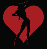Shadow silhouette of hot girl in red heart