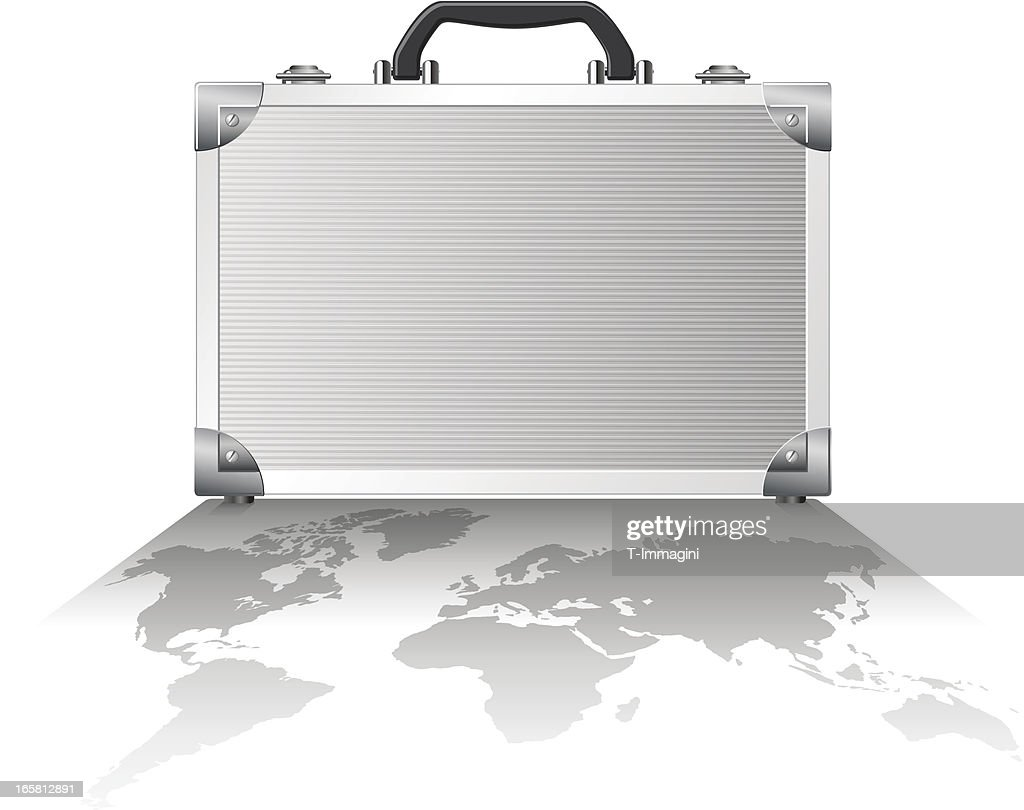 Shadow world metal suitcase