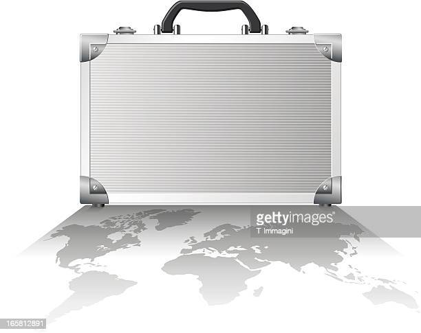 シャドー世界のメタルスーツケース