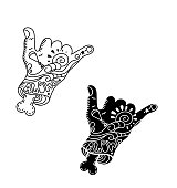 Shaka hand surf sign vector.Cartoon Hang Loose Hand Gestures.Surfing Waves.Hand drawn vector hand with bone.Zombie.Kitesurfing and windsurfing. Wakeboarding.outline black silhouette