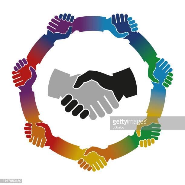 shake hands mandala - respect stock illustrations