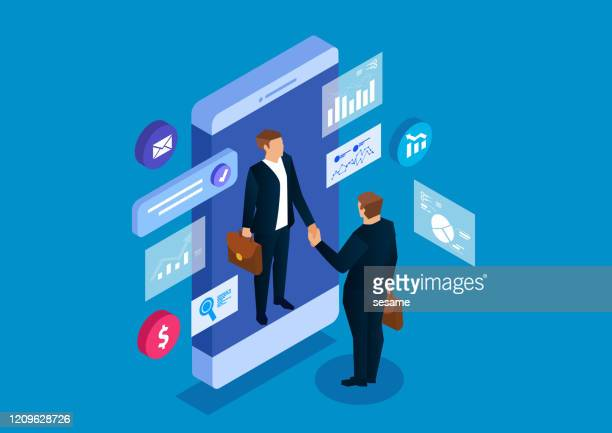 shake hands with businessman in smart phone, business cooperation and communication - employee engagement stock illustrations