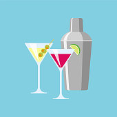 Shaker and glasses with cocktails. Illustration of a flat design