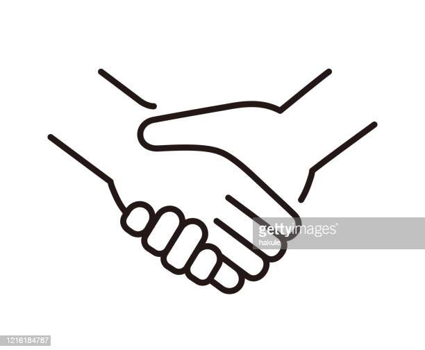 illustrations, cliparts, dessins animés et icônes de serrant la main, illustration de vecteur de ligne mince - poignée de main
