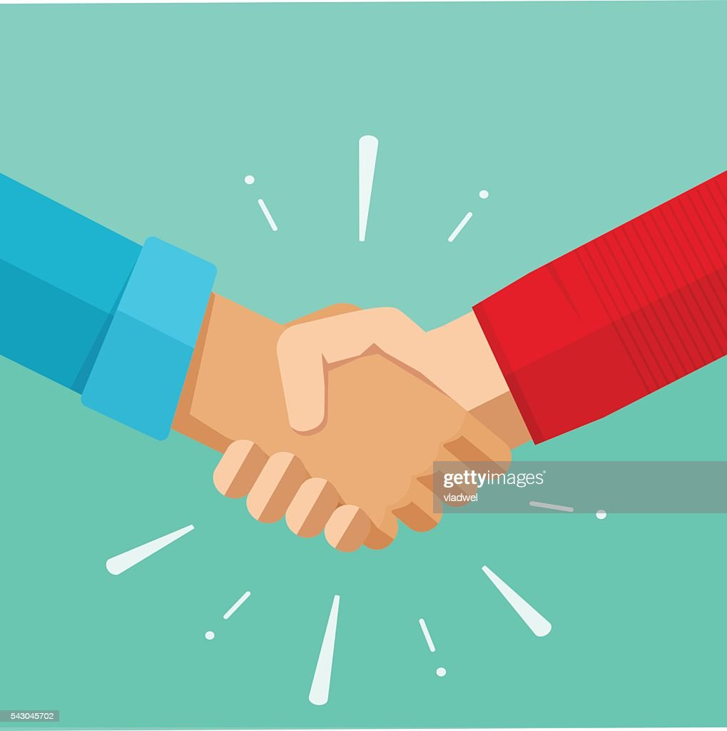 Shaking hands vector illustration, agreement deal handshake, partnership friendship congratulations