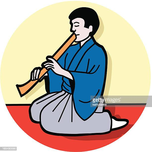 shakuhachi player - only japanese stock illustrations, clip art, cartoons, & icons