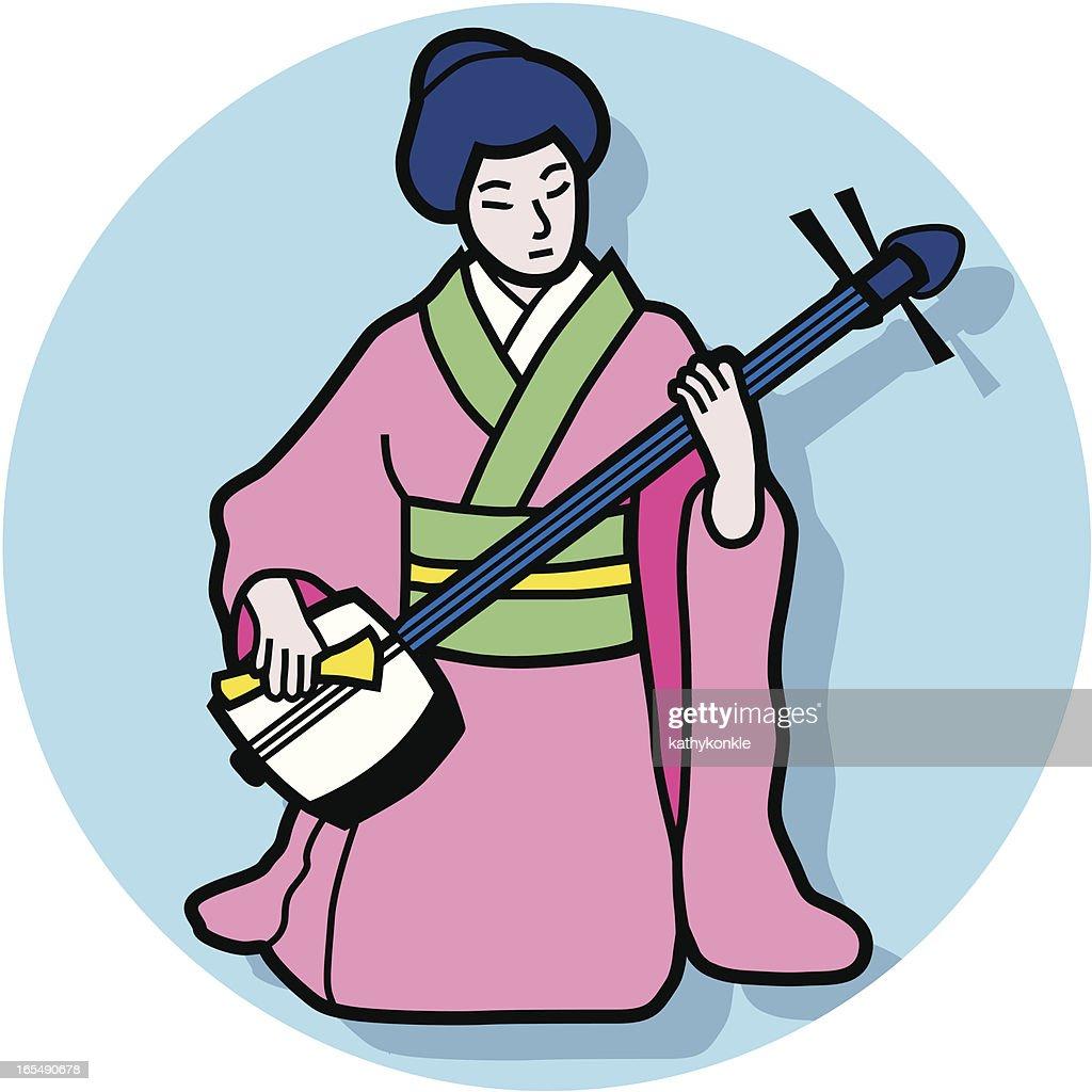 shamisen player : stock illustration
