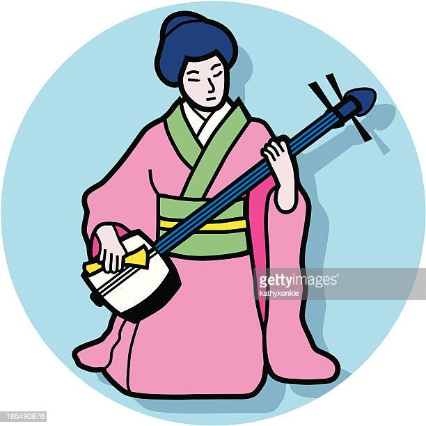 shamisen player - only japanese stock illustrations, clip art, cartoons, & icons