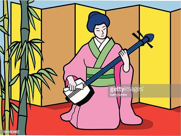 ilustrações de stock, clip art, desenhos animados e ícones de instrumento musical japonês com três cordas shamisen jogador - vangen