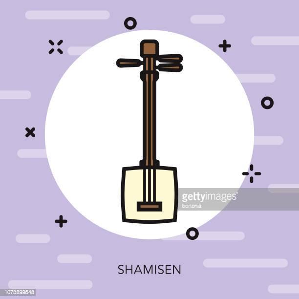 ilustrações de stock, clip art, desenhos animados e ícones de shamisen thin line japan icon - vangen