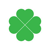 Shamrock - green four leaf clover icon. Good luck theme design element. Simple geometrical shape vector illustration