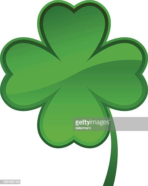 shamrock icon (eps, jpg and ai file in zip) - four leaf clover stock illustrations