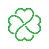Shamrock silhouette - green outline four leaf clover icon. Good luck theme design element. Simple geometrical shape vector illustration