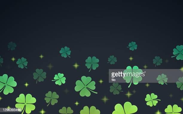shamrock st. patrick's day clover border - four leaf clover stock illustrations