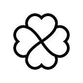 Shamrock symbol. Fourleaf clover black vector outline