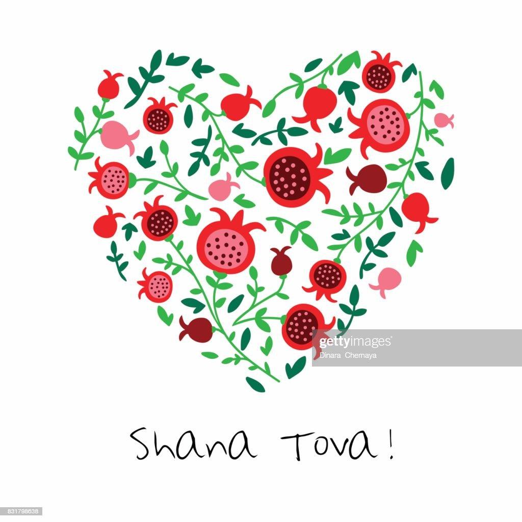 Shana tova greeting card for jewish new year with flowers and shana tova happy new year on hebrew greeting card for jewish m4hsunfo