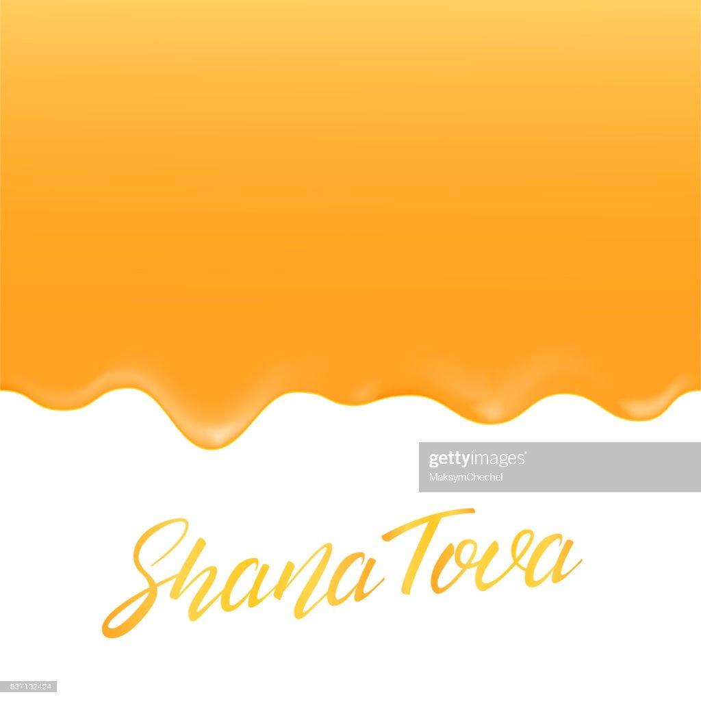 Shana Tova Rosh Hashanah Greeting Card With Honey And Lettering