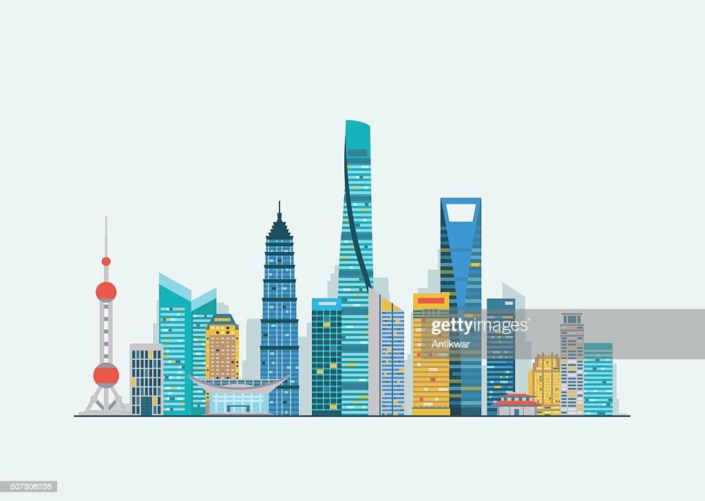 Shanghai abstract skyline
