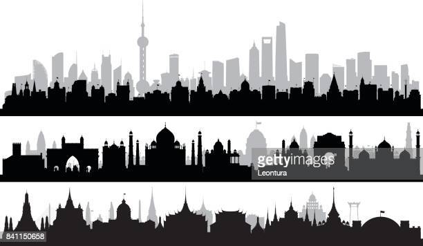 Shanghai, Delhi, and Bangkok (Each Building is Complete and Moveable)
