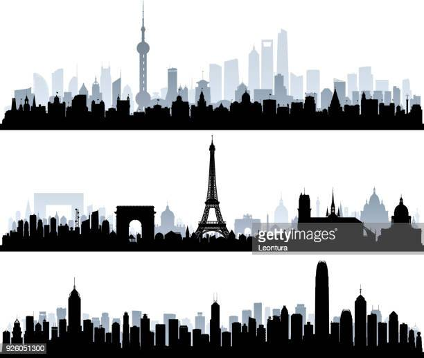 shanghai, paris, hong kong (all buildings are complete and moveable) - shadow stock illustrations