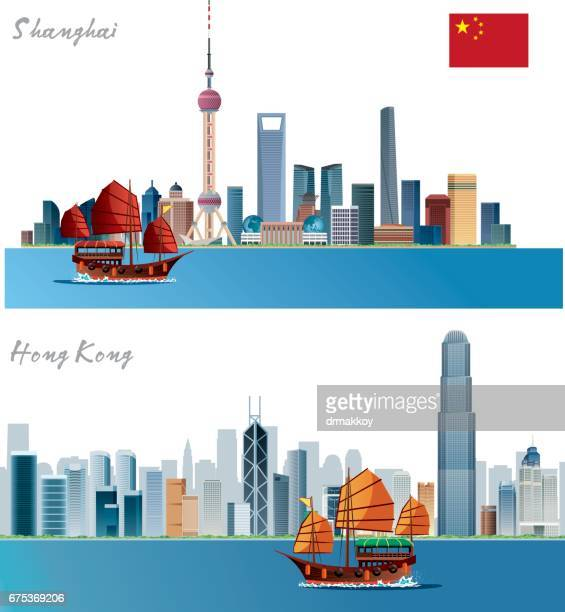 shanghai skyline - china east asia stock illustrations