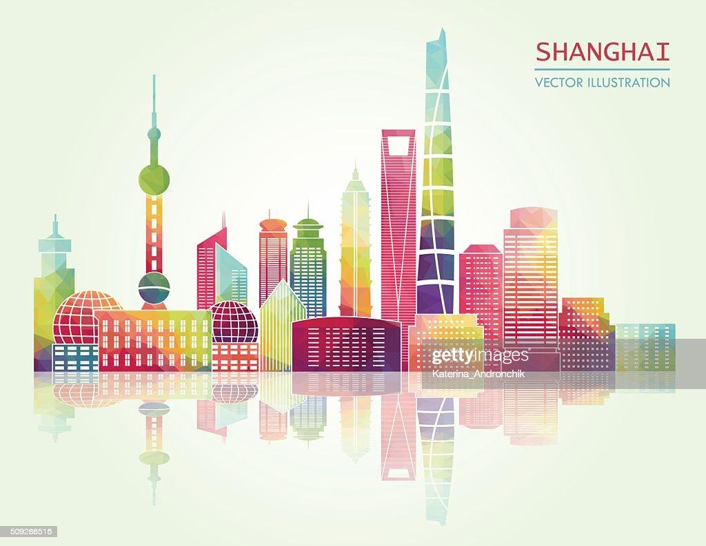 Shanghai skyline. Vector illustration