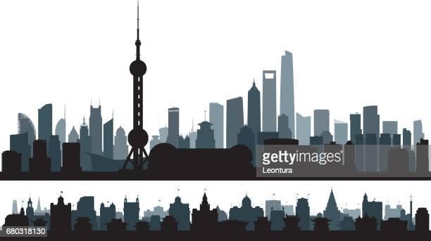 illustrazioni stock, clip art, cartoni animati e icone di tendenza di shanghai (all buildings are complete and moveable) - shanghai
