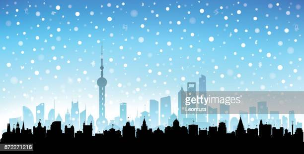 shanghai (all buildings are complete and moveable) - blizzard stock illustrations, clip art, cartoons, & icons