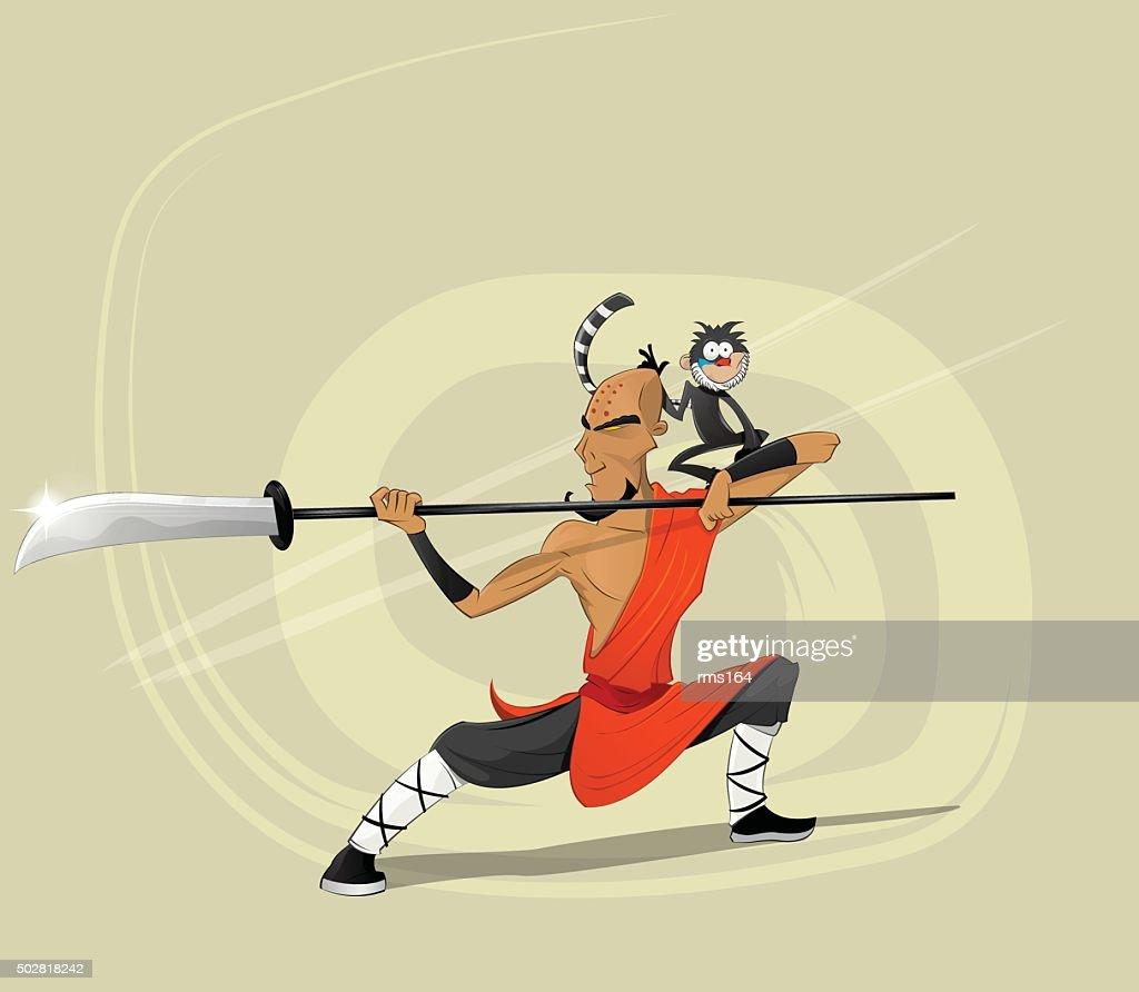 Shaolin warrior monk vector illustration