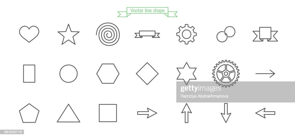 Shape icon line star, heart, spiral, flag, ribbon, gear, ring, chain, circle, hexagon, pentagon, square, rhombus, triangle, arrow