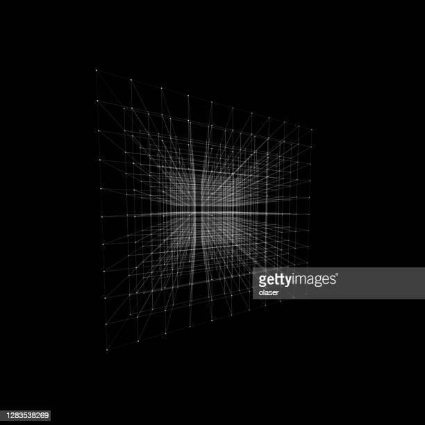 空間内の無限の3d形状。白いドットが結合をマークする場合 - デジタル合成点のイラスト素材/クリップアート素材/マンガ素材/アイコン素材