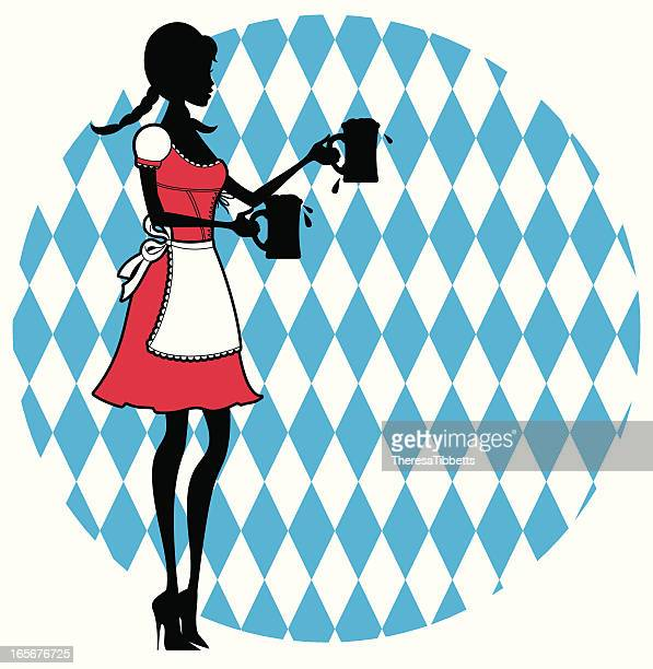 shape of a dress oktoberfest girl serving beers - braided hair stock illustrations, clip art, cartoons, & icons