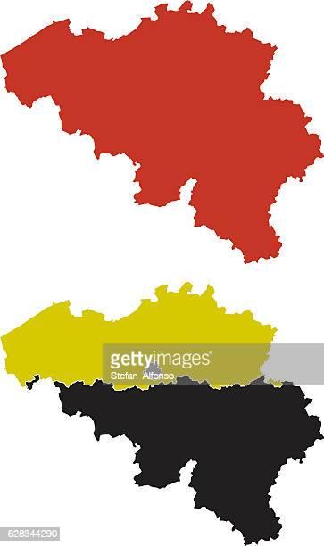 stockillustraties, clipart, cartoons en iconen met shape of belgium and its regions - belgië