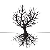Shape of black Tree and Roots. Vector Illustration.