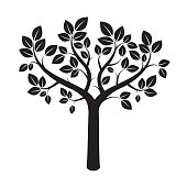 Shape of Black Tree. Vector Illustration.