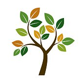 Shape of Color Tree. Vector Illustration.