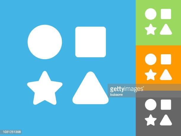 shape toys  flat icon on blue background - triangle shape stock illustrations