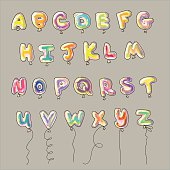 Shaped balloons color alphabet