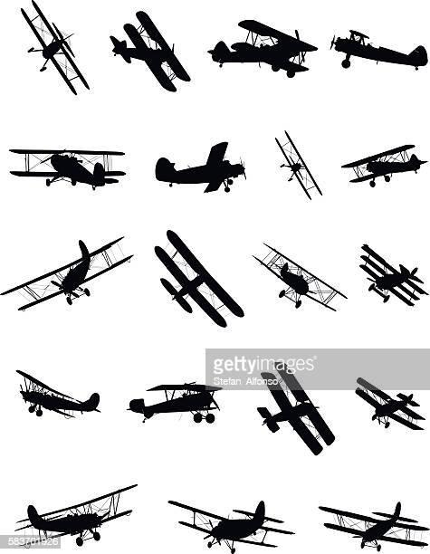 shapes of biplanes - biplane stock illustrations, clip art, cartoons, & icons