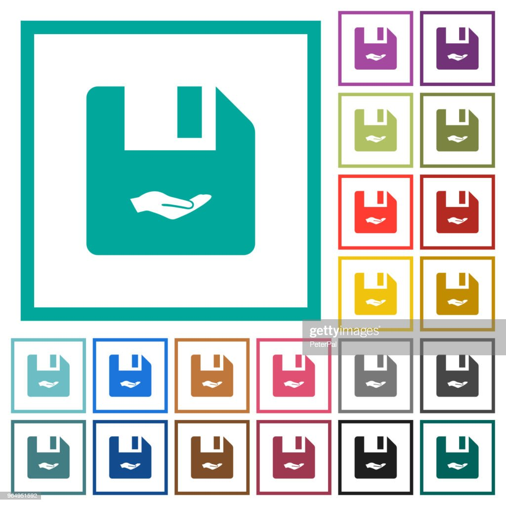 Share file flat color icons with quadrant frames