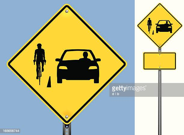 share the road sign with a bicycle and car - individual event stock illustrations