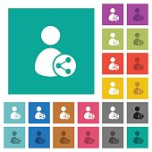 Share user data square flat multi colored icons