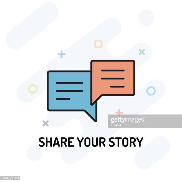 ストーリー平坦なライン設計を共有します。 - 読み聞かせ点のイラスト素材/クリップアート素材/マンガ素材/アイコン素材
