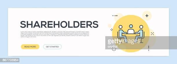 Concepto de accionistas - línea plana Web Banner